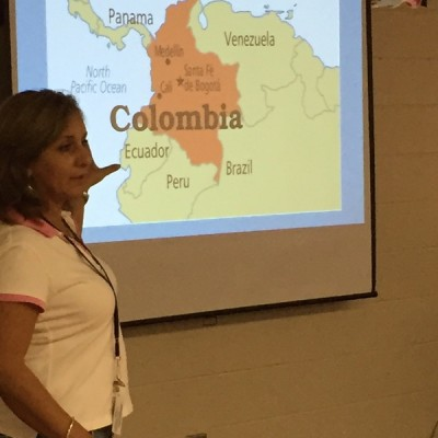 A native of Colombia gave a presentation on her country.